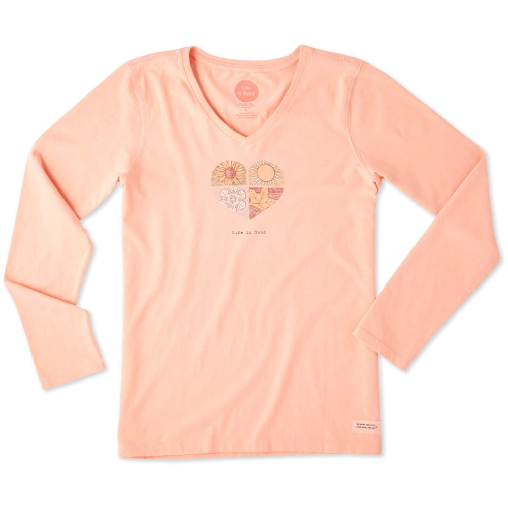LIFE IS GOOD Women's Four Seasons Long Sleeve Crusher Tee - CHALKY PEACH