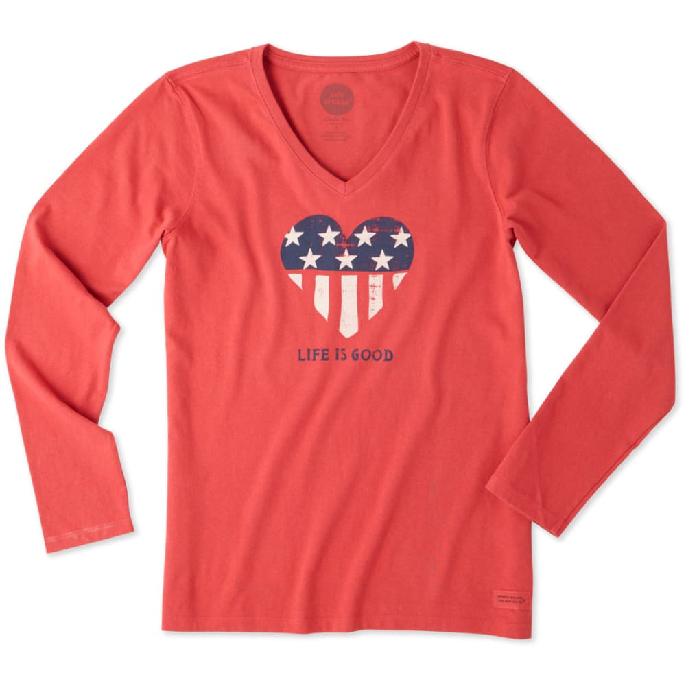 LIFE IS GOOD Women's Flag Heart Long Sleeve Crusher Tee - HEATHER GRAY