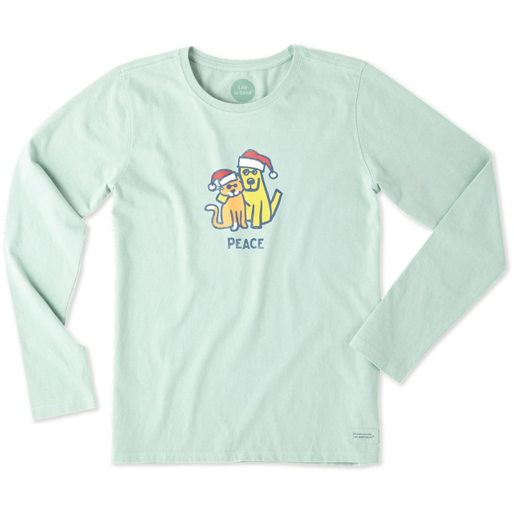 LIFE IS GOOD Women's Peace Cat and Dog Long Sleeve Crusher Tee - MINTY GREEN