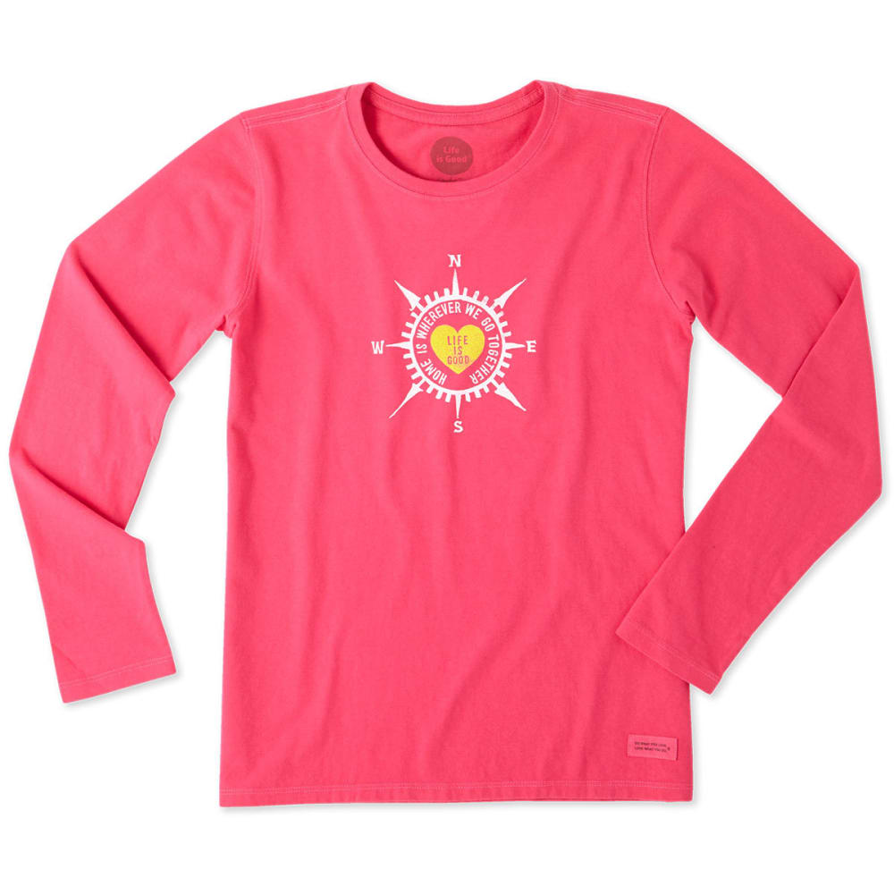LIFE IS GOOD Women's Heart Compass Long Sleeve Crusher Tee - POP PINK