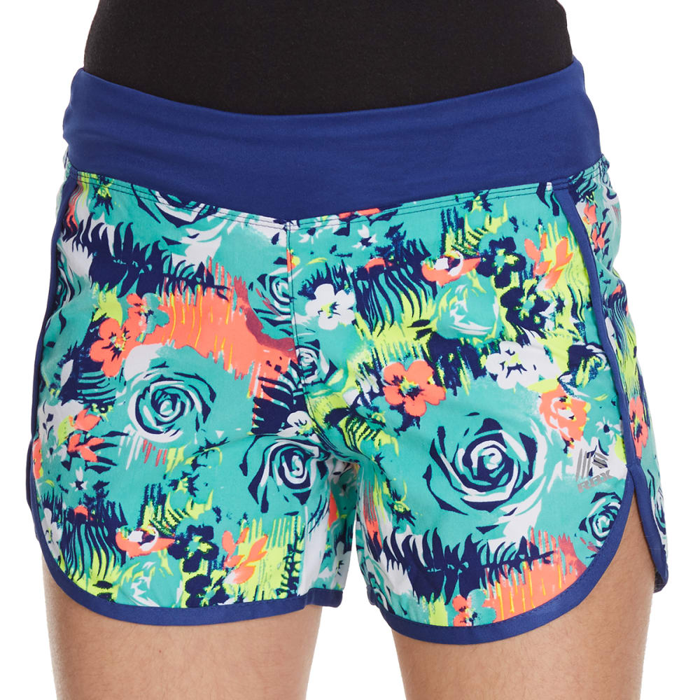 RBX Girls' Floral Tempo Shorts - ROYAL SHINE MULTI