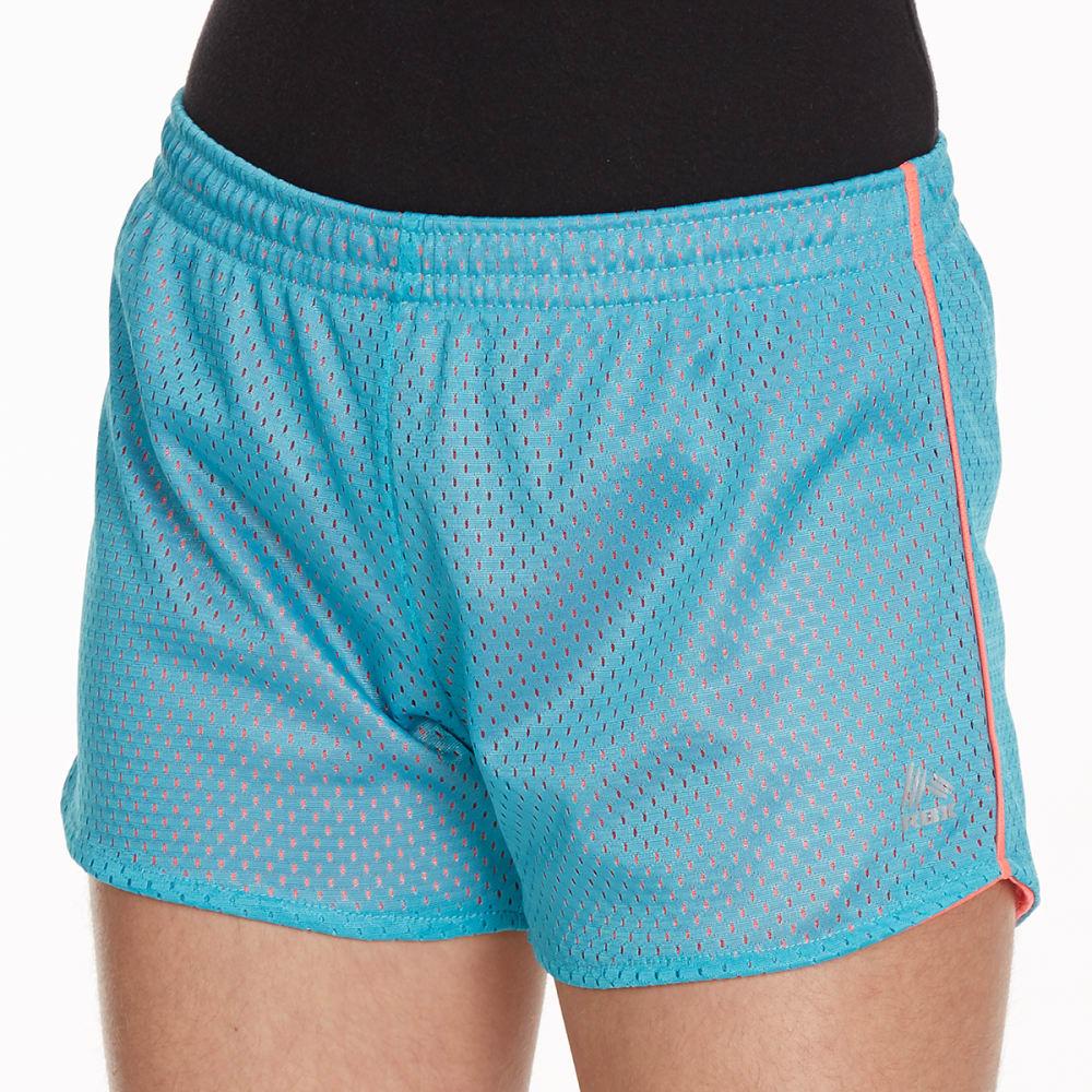 RBX Girls' Solid Mesh Shorts - AQUA SPRING/NEONCORL
