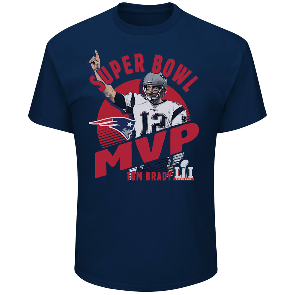 NEW ENGLAND PATRIOTS Men's Super Bowl LI Champions Tom Brady Fantasy Leader MVP Tee - NAVY