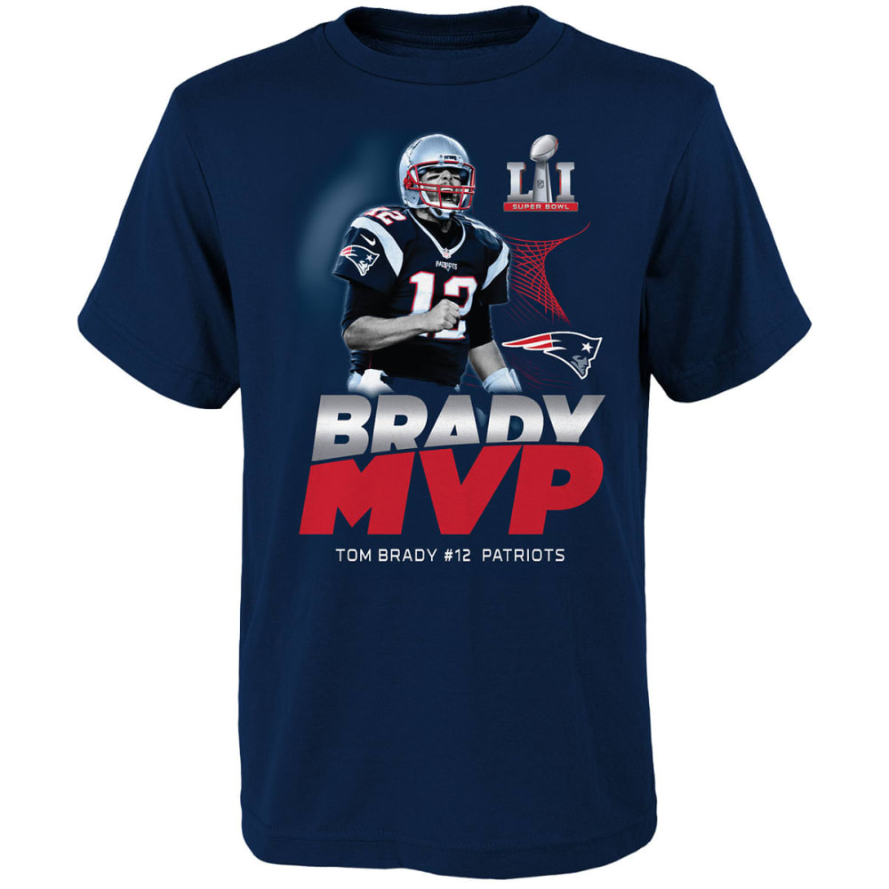 NEW ENGLAND PATRIOTS Kids' Super Bowl 51 Champions Brady MVP Grand Marshall Tee - NAVY