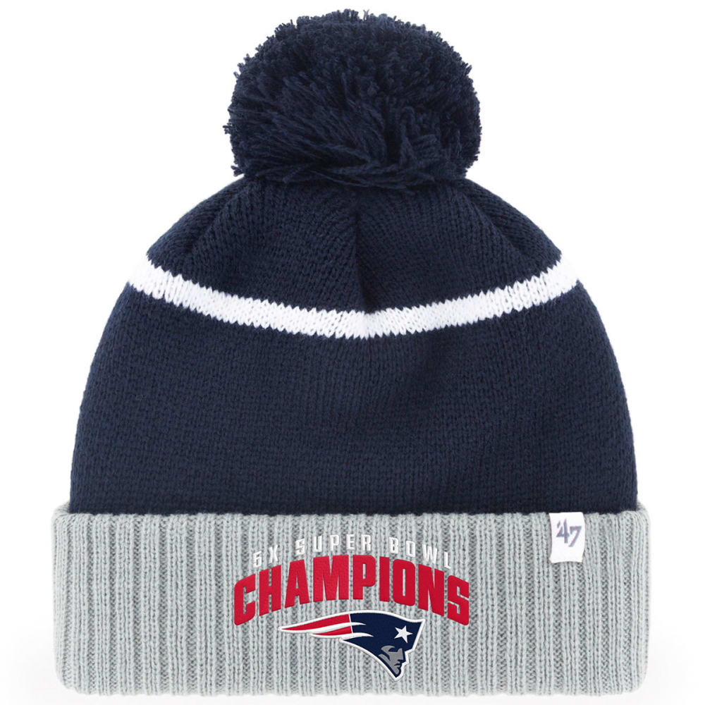 NEW ENGLAND PATRIOTS Super Bowl Multi-Time Champions 47 Chopblock Cuffed Pom Knit Beanie - NAVY