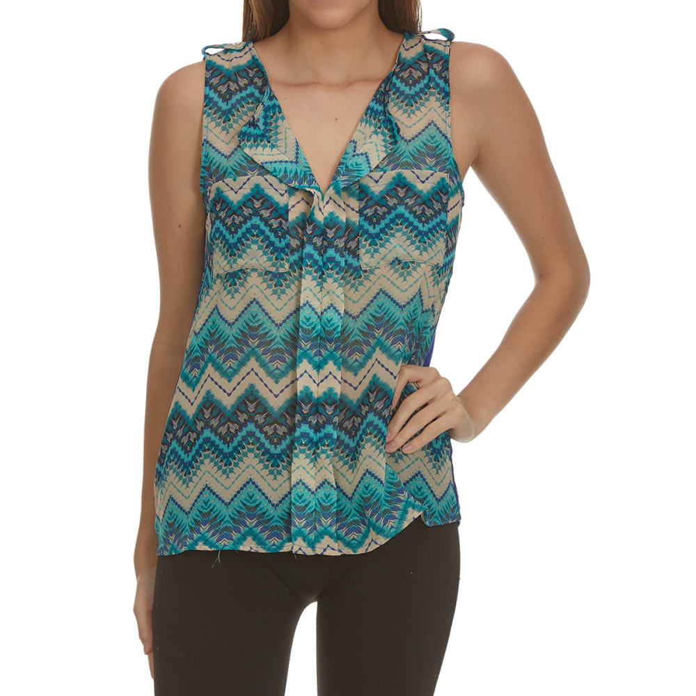 TRESICS FEMME Women's Mixed Media Sleeveless Tank - F1344-CHEVRON PRINT