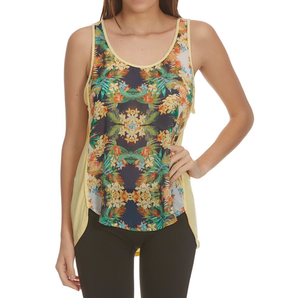 TRESICS FEMME Women's Mixed Media Scoop Neck Tank - F1345-TROPICAL PRINT
