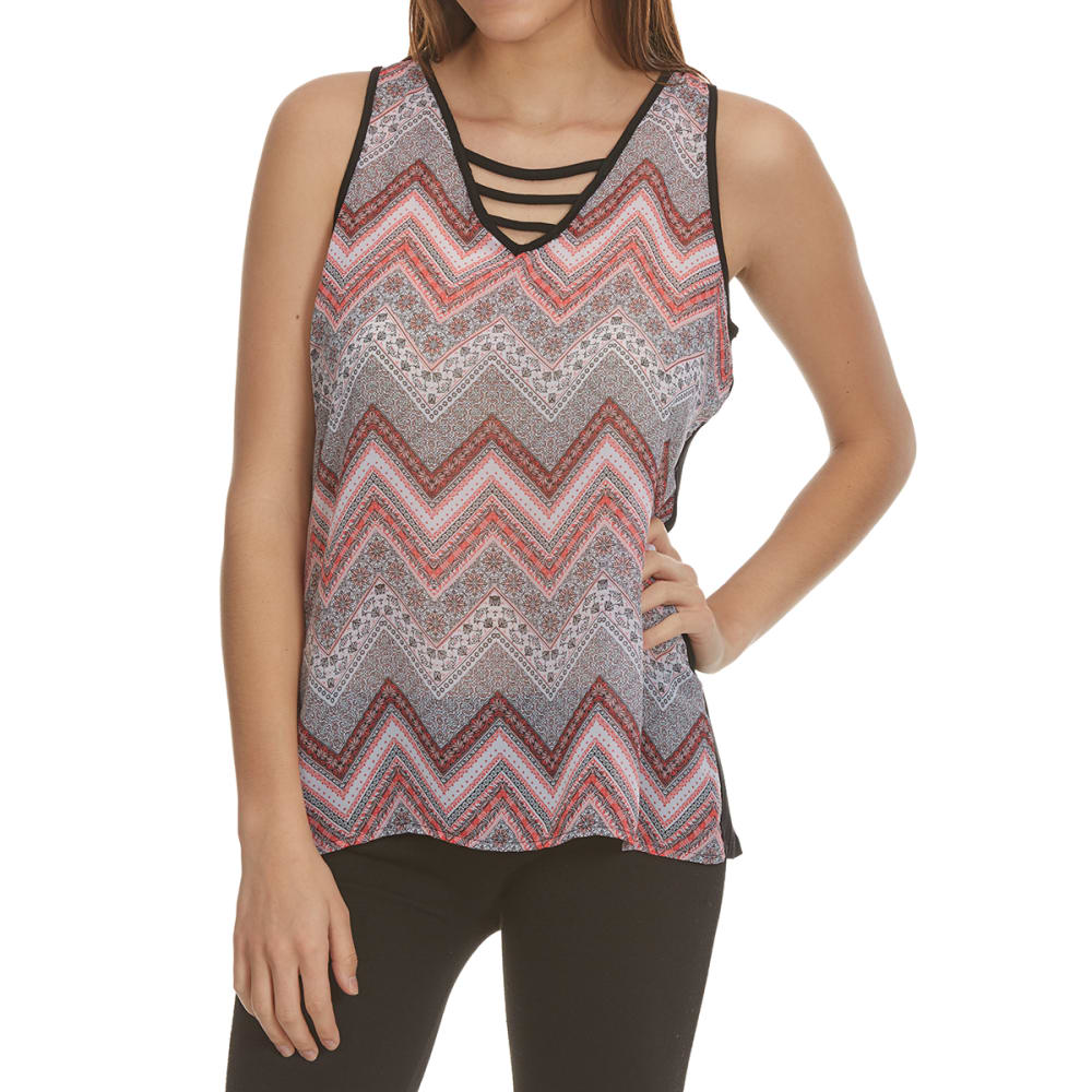 TRESICS FEMME Women's Mixed Media Lattice Front Tank - F1554-PEACH CHEVRON