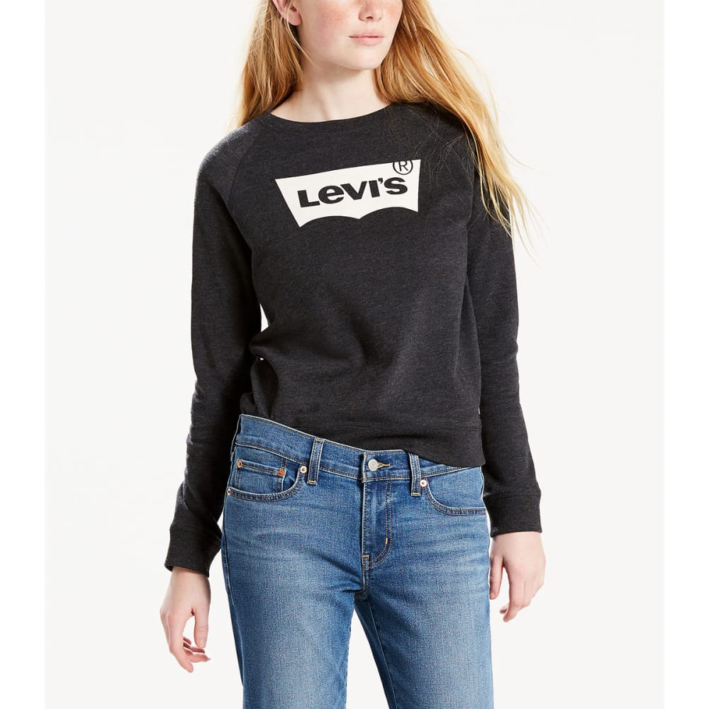 LEVI'S Women's Graphic Crewneck Sweatshirt - 0008-BATWING JET BLA