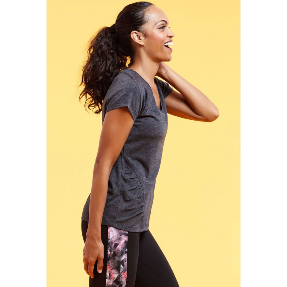 MARIKA Women's Tangled Slimming Raglan Short-Sleeve Tee - HEATHER BLACK-513