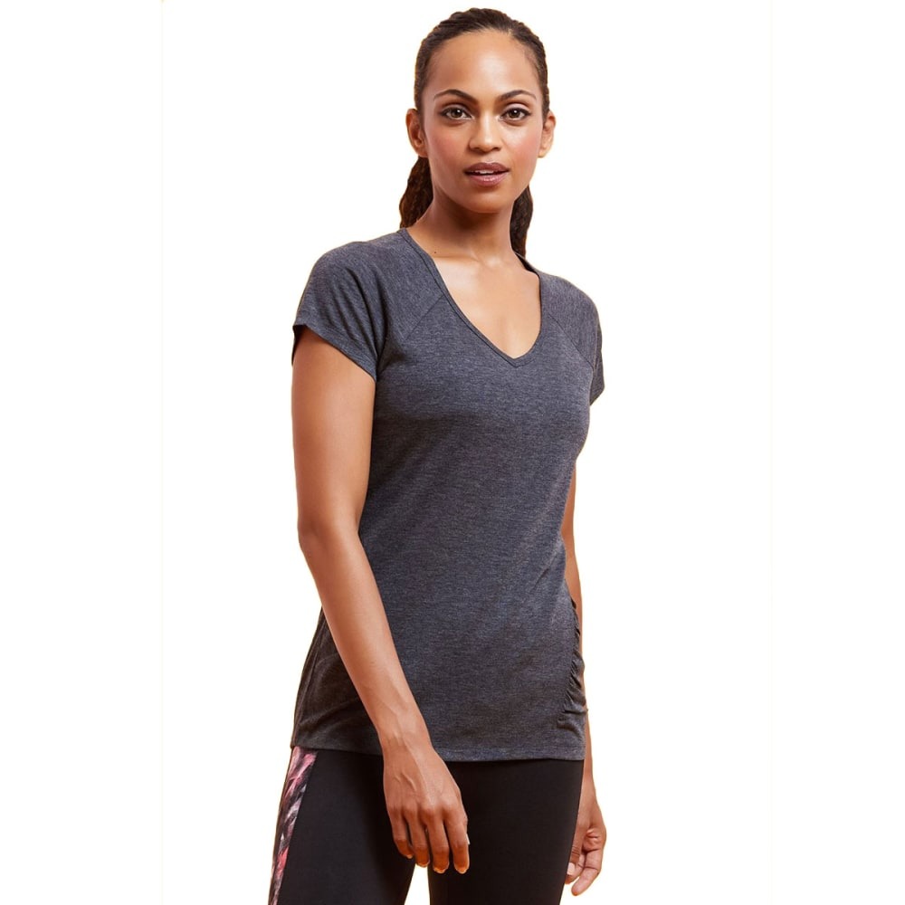MARIKA Women's Tangled Slimming Raglan Short-Sleeve Tee - HEATHER BLACK-513