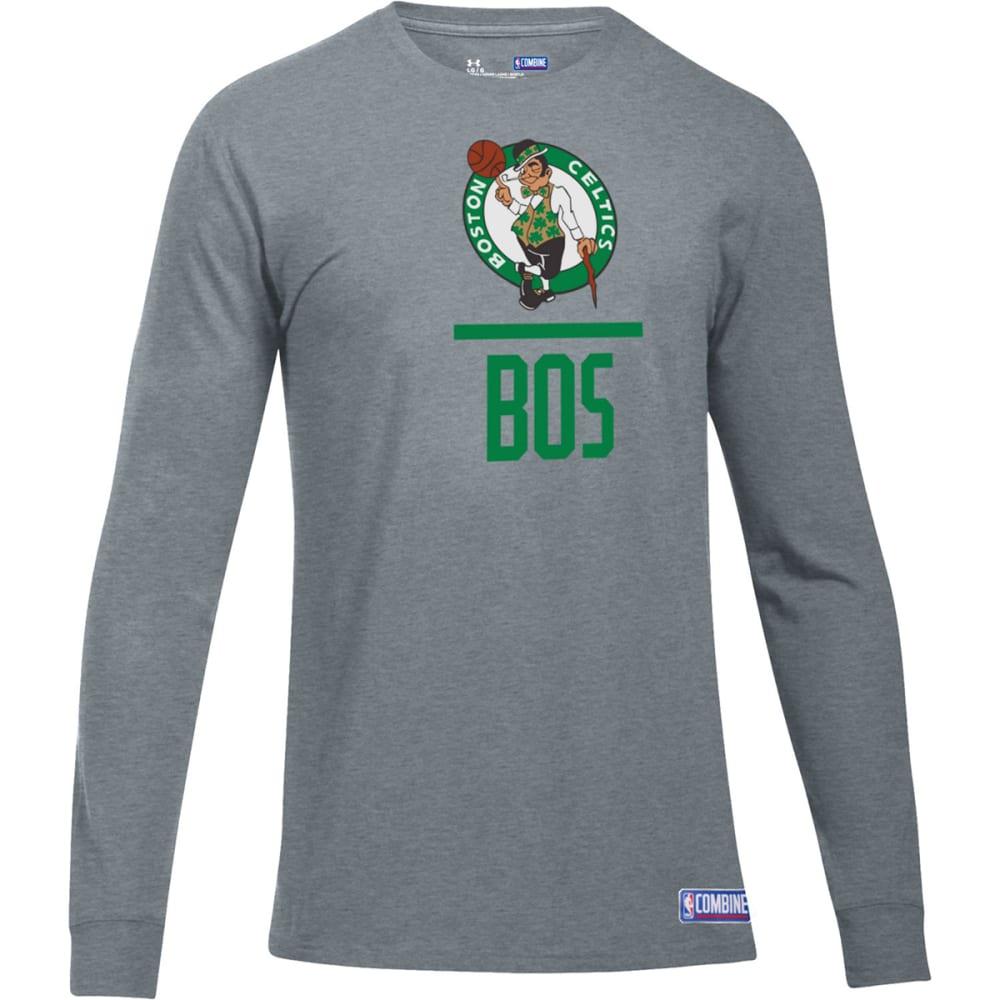 UNDER ARMOUR Men's Boston Celtics Combine UA Lockup Long-Sleeve Tee - GREY