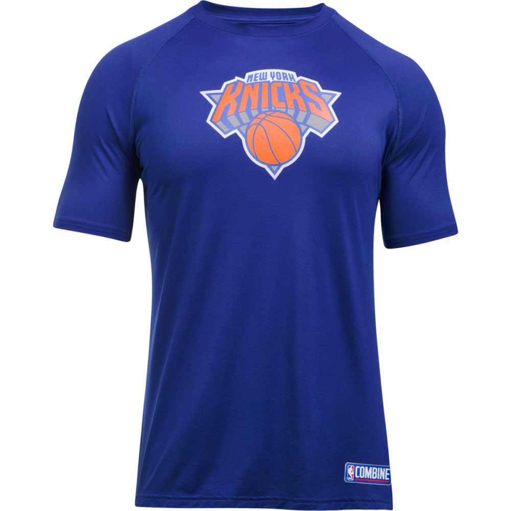 UNDER ARMOUR Men's New York Knicks Combine UA Tech™ Logo Short-Sleeve Tee - ROYAL BLUE