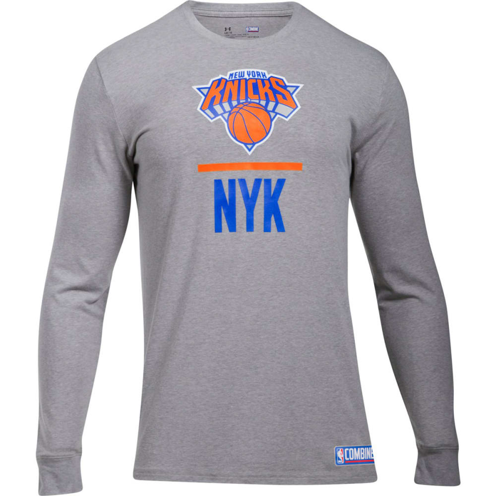 UNDER ARMOUR Men's New York Knicks Combine UA Lockup Long-Sleeve Tee - GREY