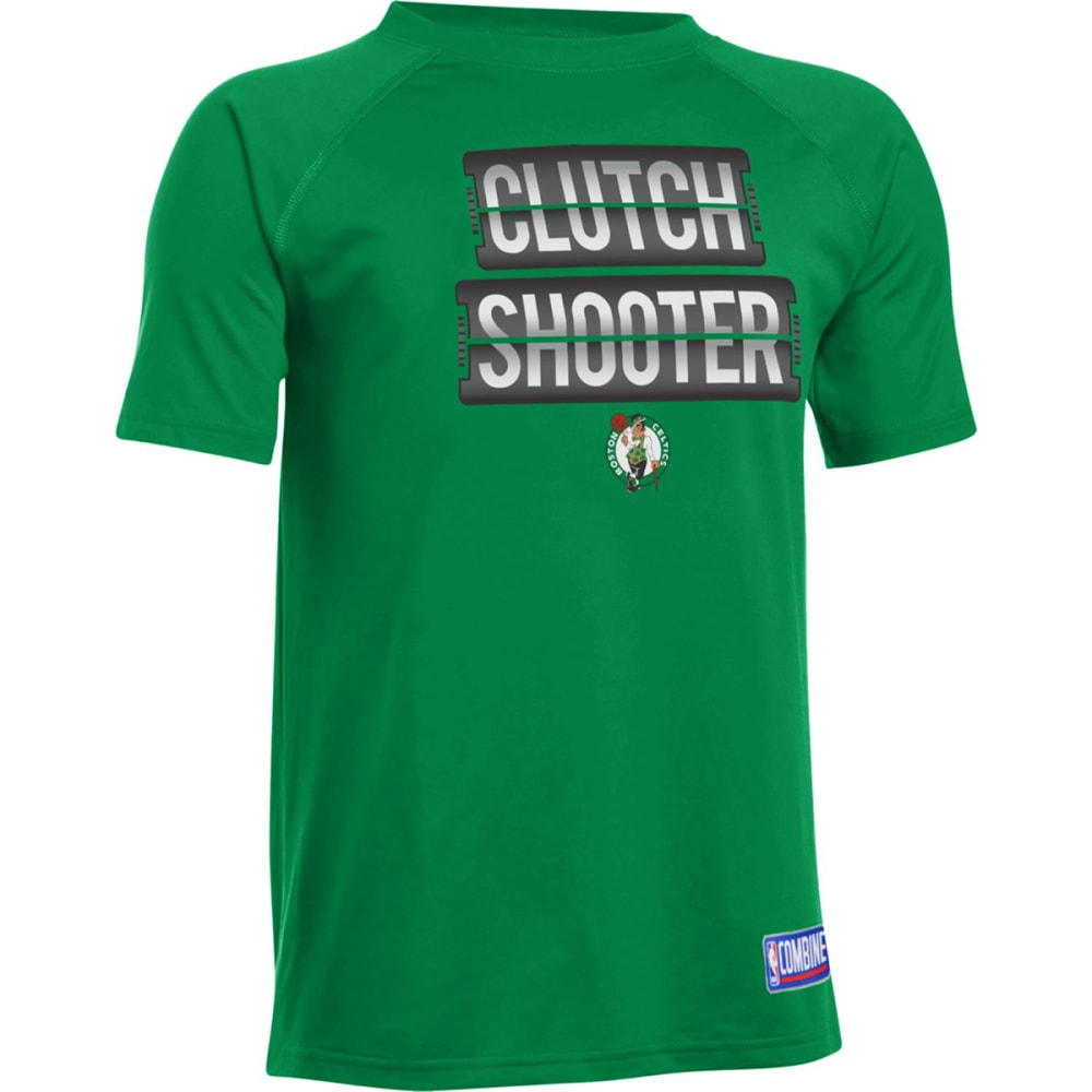 UNDER ARMOUR Big Boys' Boston Celtics Clutch Shooter Poly Tech Short-Sleeve Tee - GREEN