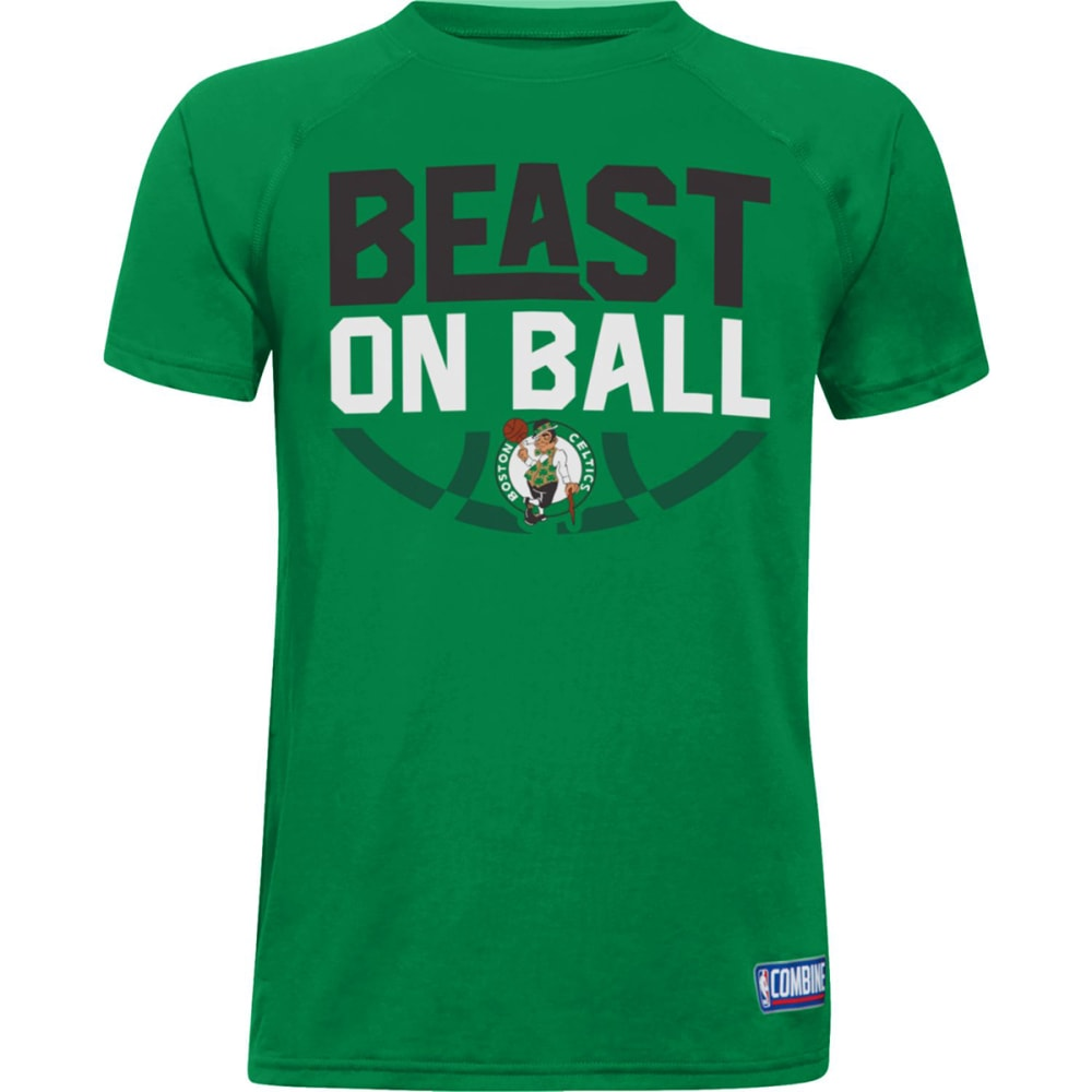 "UNDER ARMOUR Boys' Boston Celtics Combine Authentic Beast OTB UA Tech""¢ Short-Sleeve Tee - GREEN"