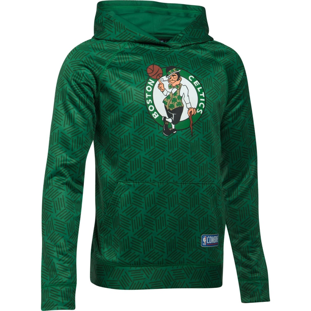 UNDER ARMOUR Big Boys' Boston Celtics Primary Logo Combine UA Armour Novelty Fleece Pullover - GREEN