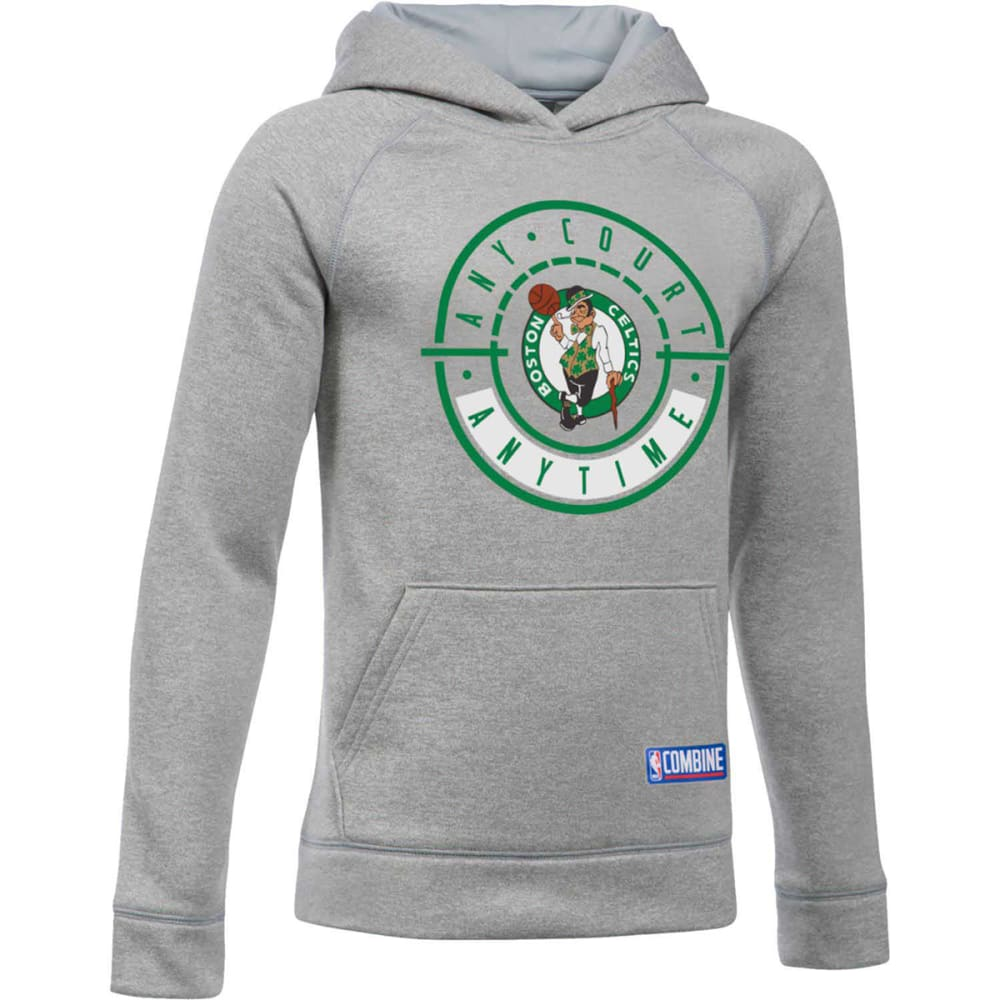 UNDER ARMOUR Big Boys' Boston Celtics Any Court Anytime Combine UA Armour Fleece Pullover - GREY