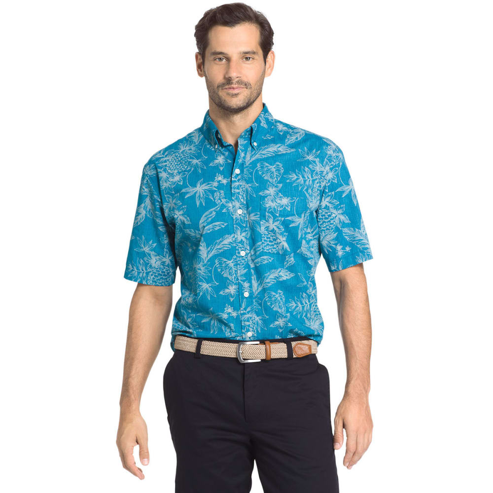 Arrow Men's Coastal Pineapple Short-Sleeve Shirt - Blue, M