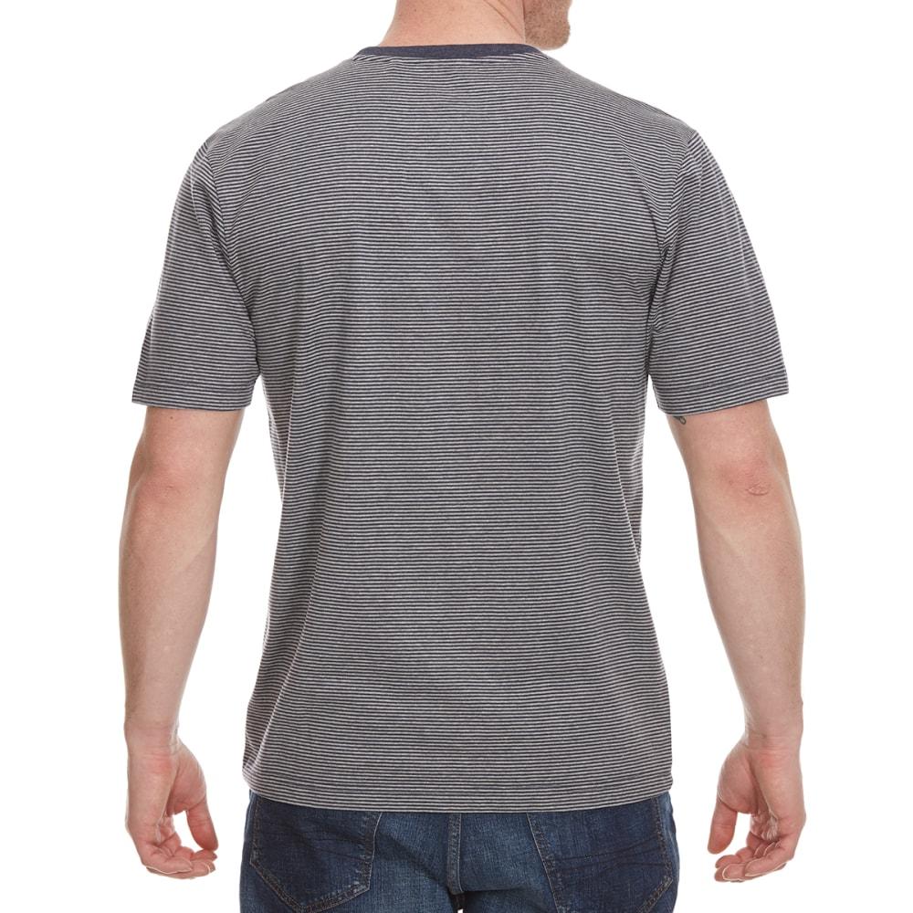 RUGGED TRAILS Men's Crewneck Stripe Short Sleeve Tee - DRESS BLU HTR