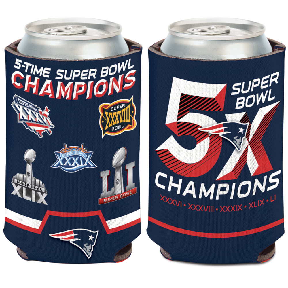 NEW ENGLAND PATRIOTS 5X Champs Can Cooler - NAVY