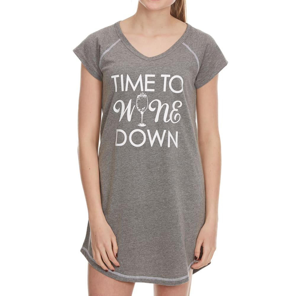 PANTIES PLUS Women's Time To Wine Down Sleep Shirt - CHARCOAL HEATHER