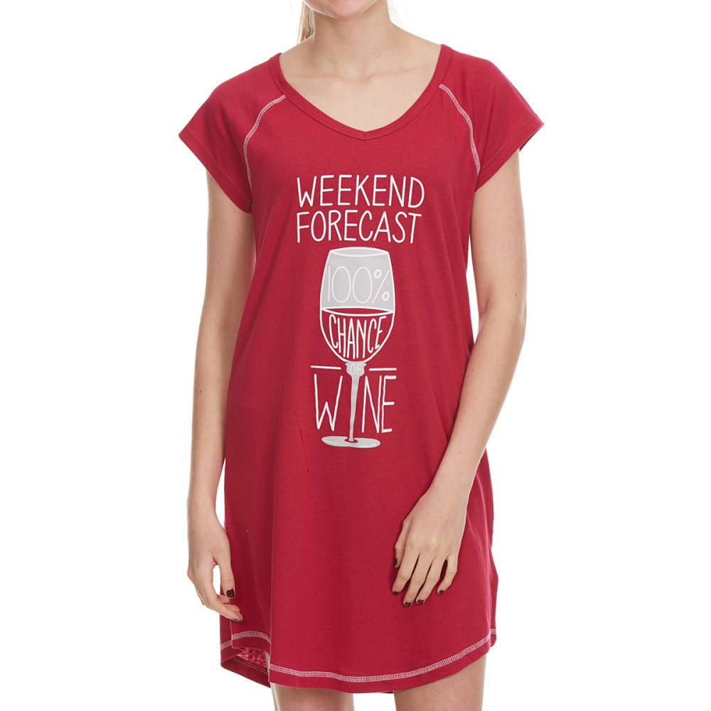 PANTIES PLUS Women's Weekend Forecast Wine Sleep Shirt - CHERRY
