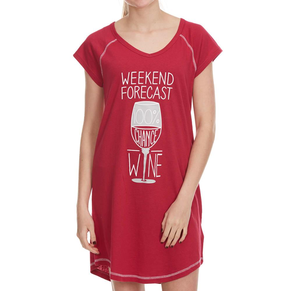 PANTIES PLUS Women's Weekend Forecast Wine Sleep Shirt - CHERRY