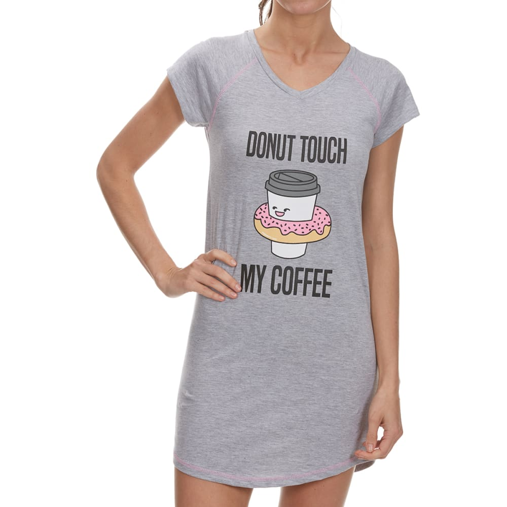 PANTIES PLUS Women's Donut Touch My Coffee Sleep Shirt - HEATHER GREY