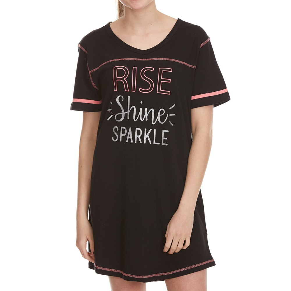 PANTIES PLUS Women's Rise Shine Sparkle Sleep Shirt - BLACK