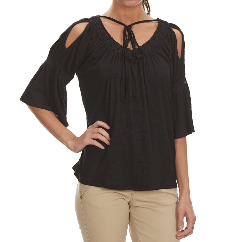 POOF Juniors' Cold Shoulder Lace Trim Top - BLACK