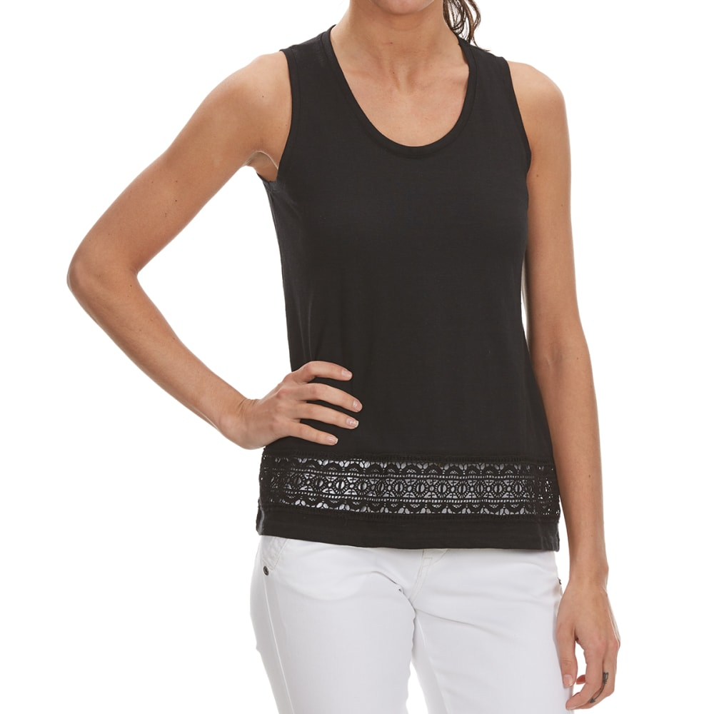 THYME & HONEY Women's Lace Trim Tank - BLACK