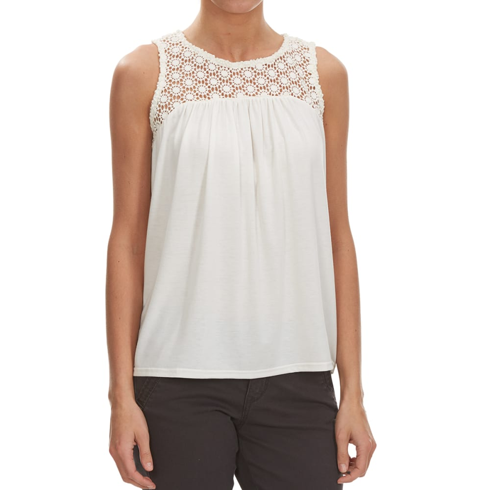 THYME & HONEY Women's Embroidered Front Tank - EGGWHITE