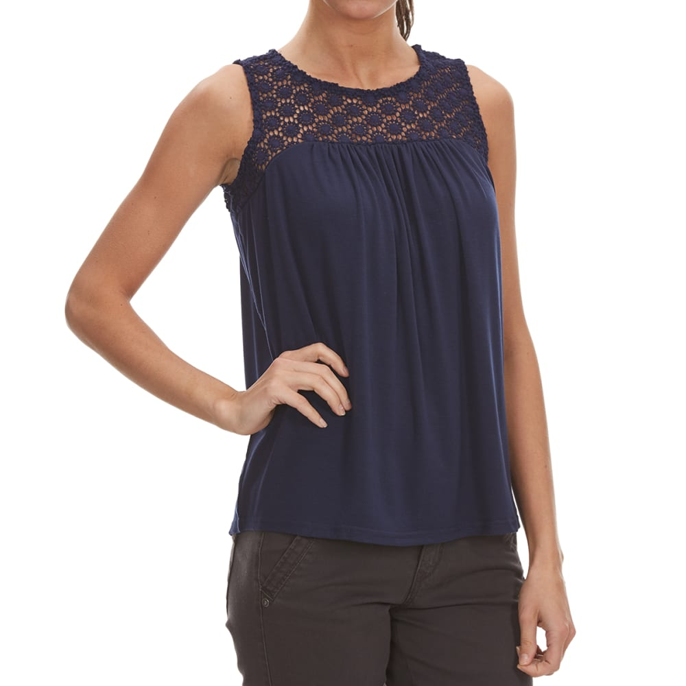 THYME & HONEY Women's Embroidered Front Tank - PEACOAT NAVY