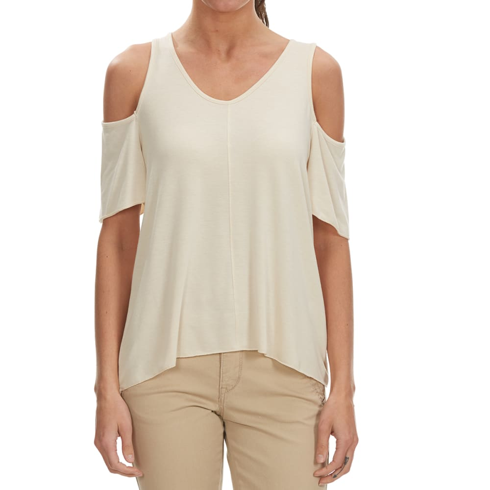THYME & HONEY Women's Solid Cold Shoulder V-Neck Top - NATURAL