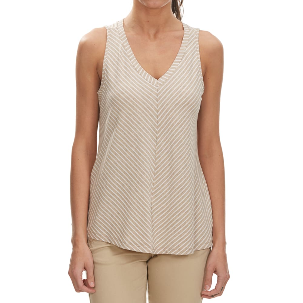 THYME & HONEY Women's Mitered Tank - LT BROWN/EGGWHITE