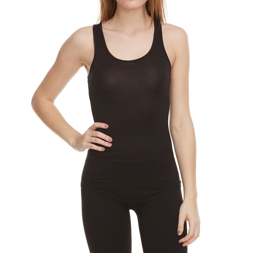 ZENANA OUTFITTERS Juniors' Double Scoop Tank - BLACK