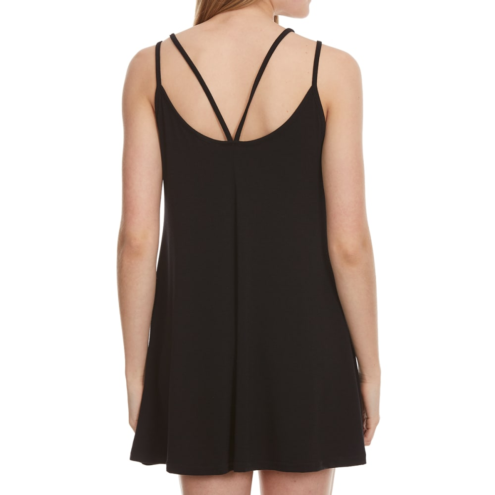 POOF Juniors' Strappy Front Tunic Dress - BLACK