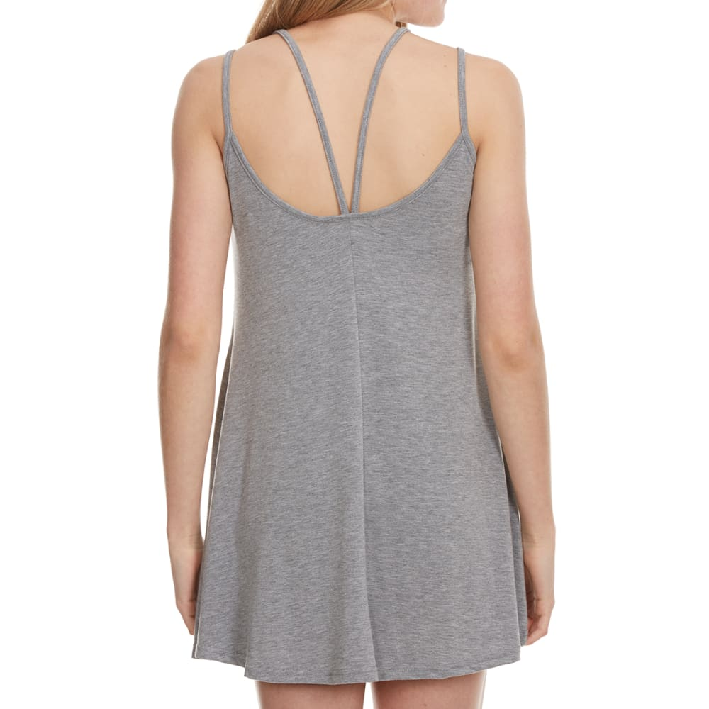 POOF Juniors' Strappy Front Tunic Dress - HEATHER GREY