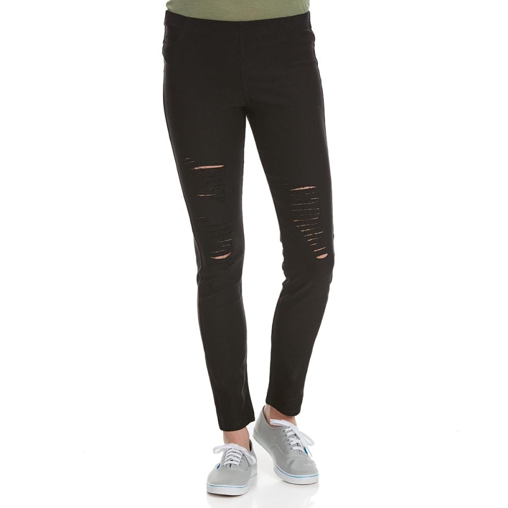POOF Juniors' Destructed Pants with Back Pockets - BLACK