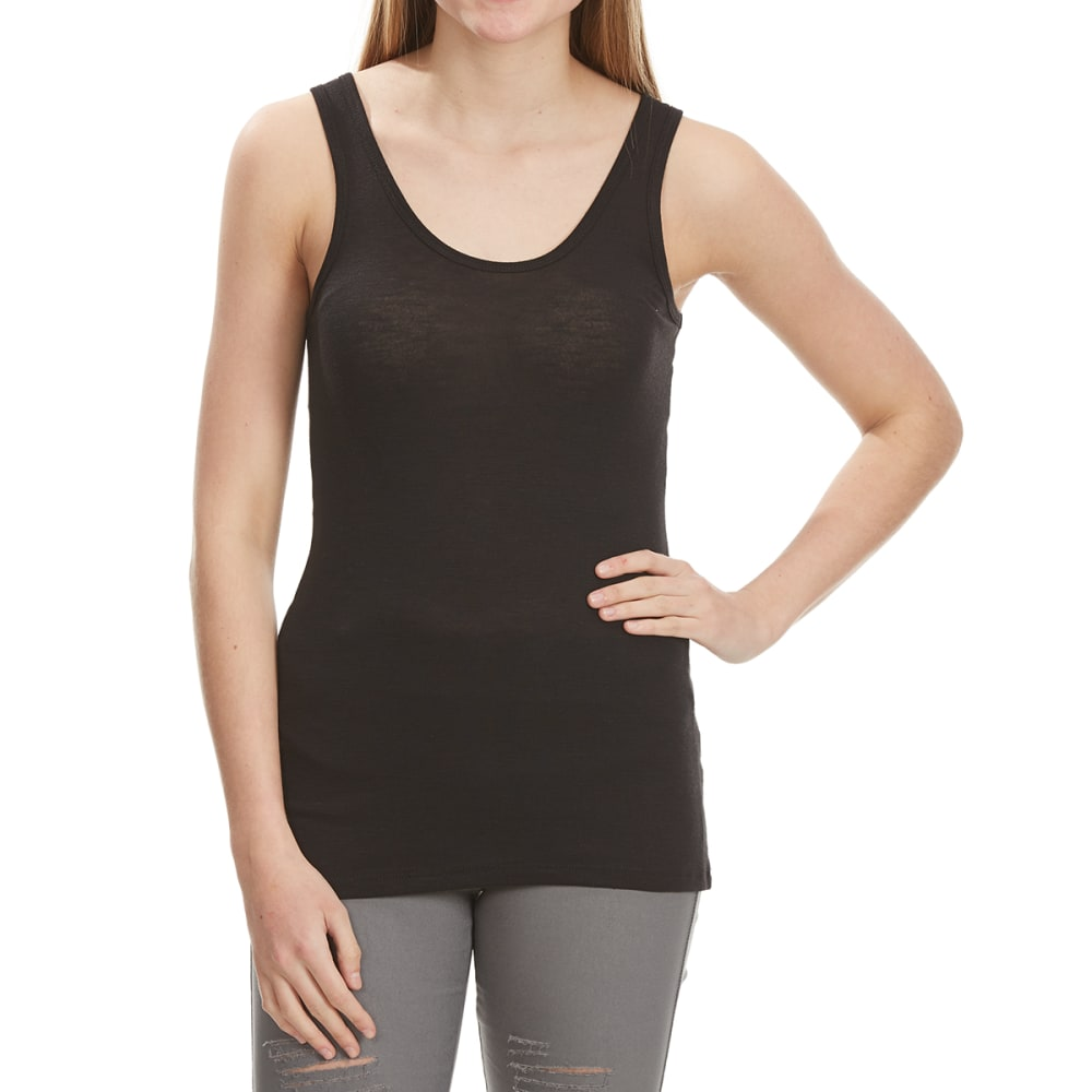 POOF Juniors' Double Scoop Neck Tank Top - BLACK