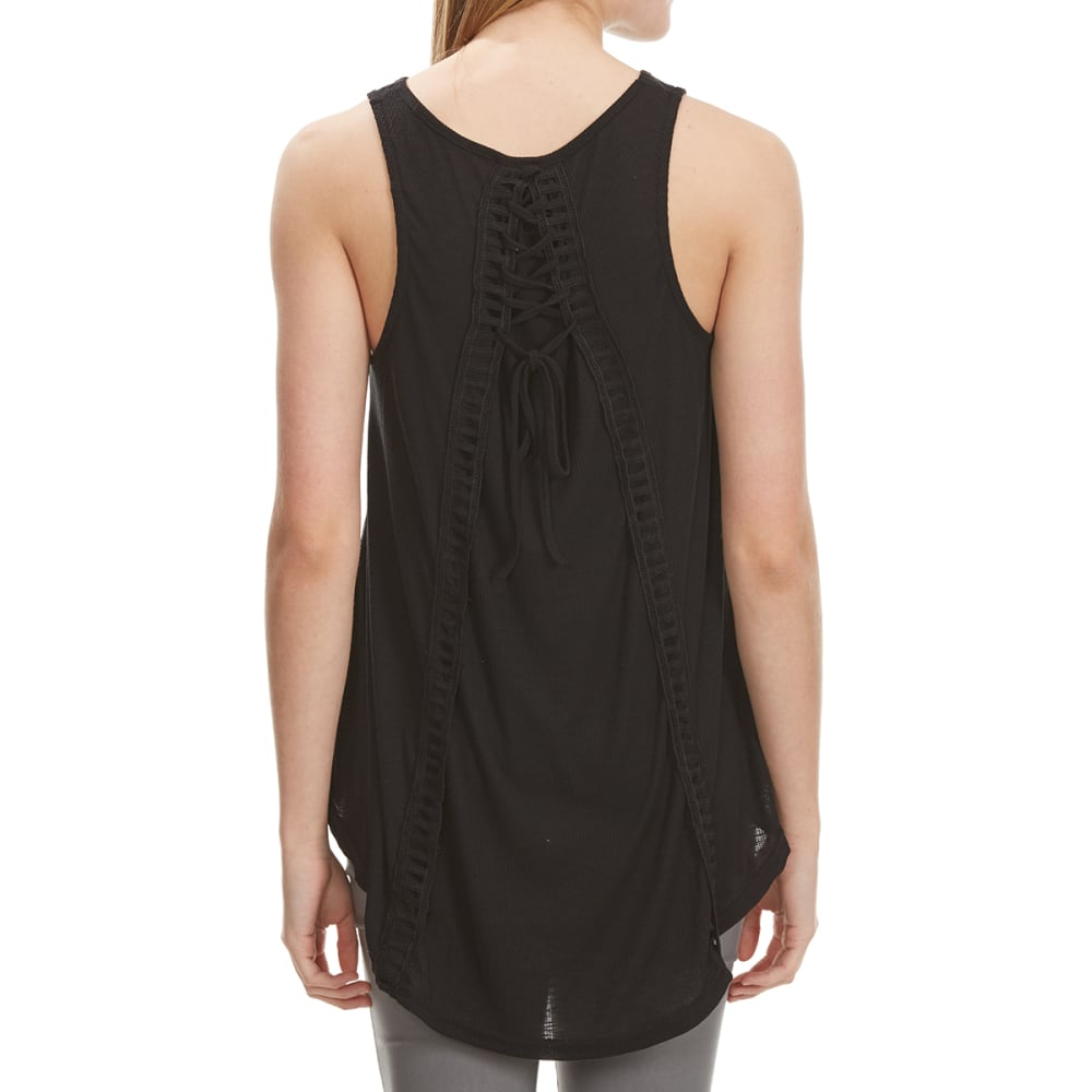 POOF Juniors' High-Low Lace-Up Back Tank - BLACK