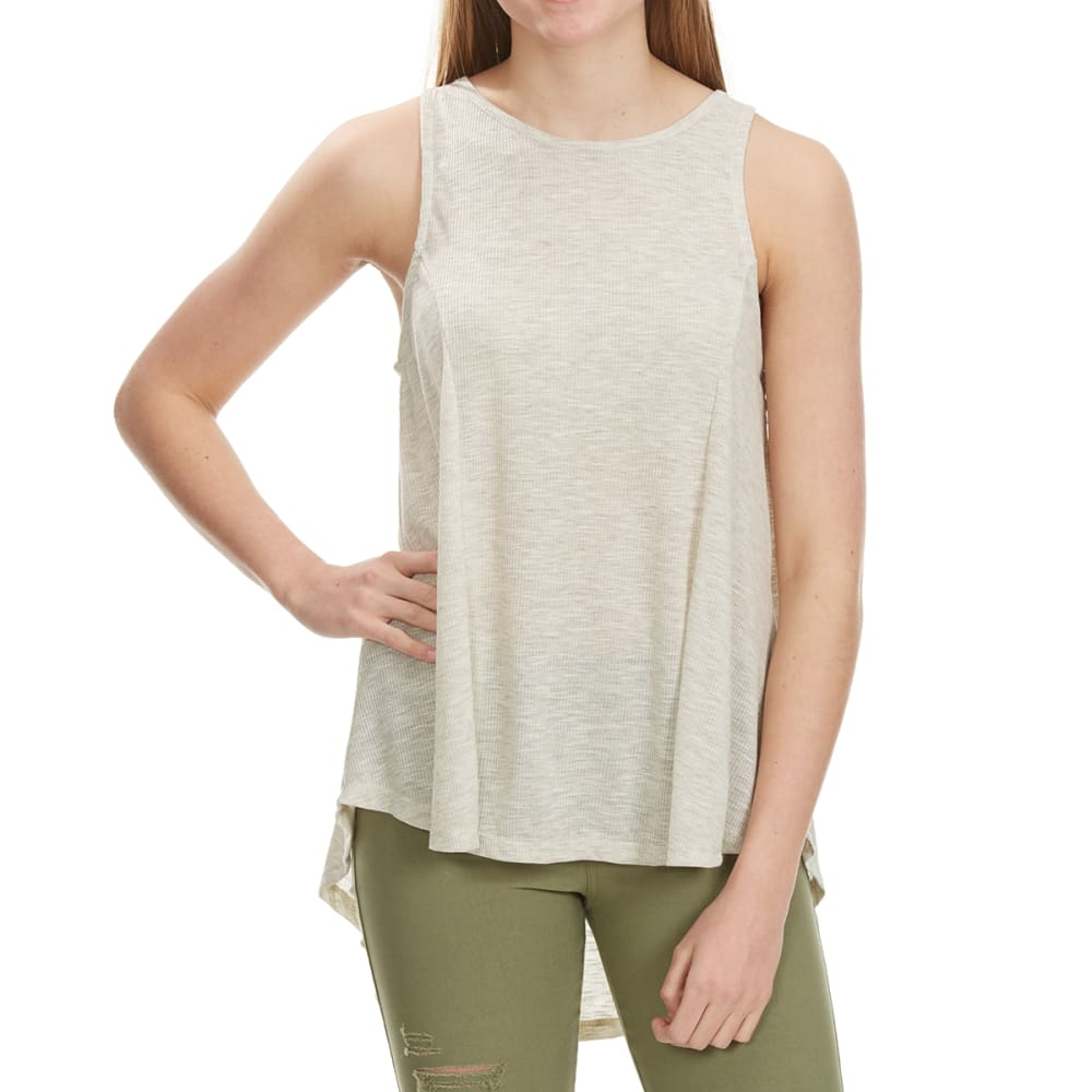 POOF Juniors' High-Low Lace-Up Back Tank - NATURAL MARBLE