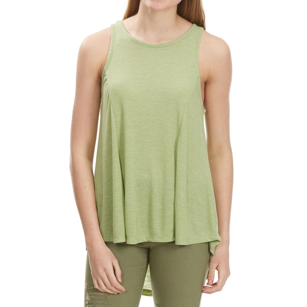 POOF Juniors' High-Low Lace-Up Back Tank - ARMY MARBLE