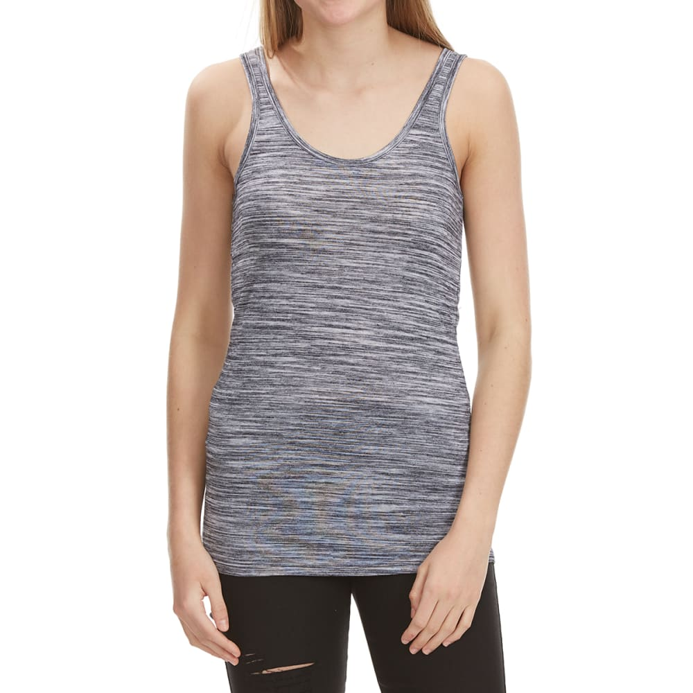 POOF Juniors' Space-Dye Double Scoop Neck Tank Top - BLACK SPACE DYE