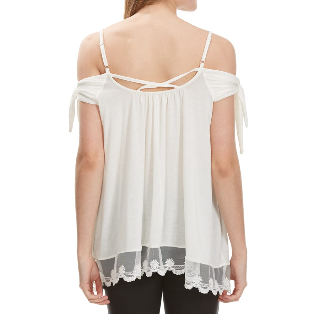 POOF Juniors' Tied-Sleeve Cold-Shoulder Top - EGGWHITE