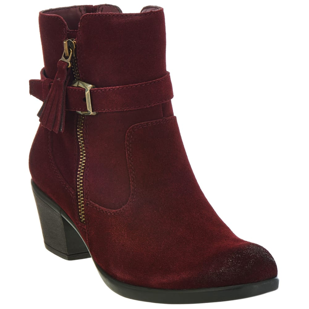 Earth Origins Women's Tori Suede Booties, Merlot, Wide - Red, 8