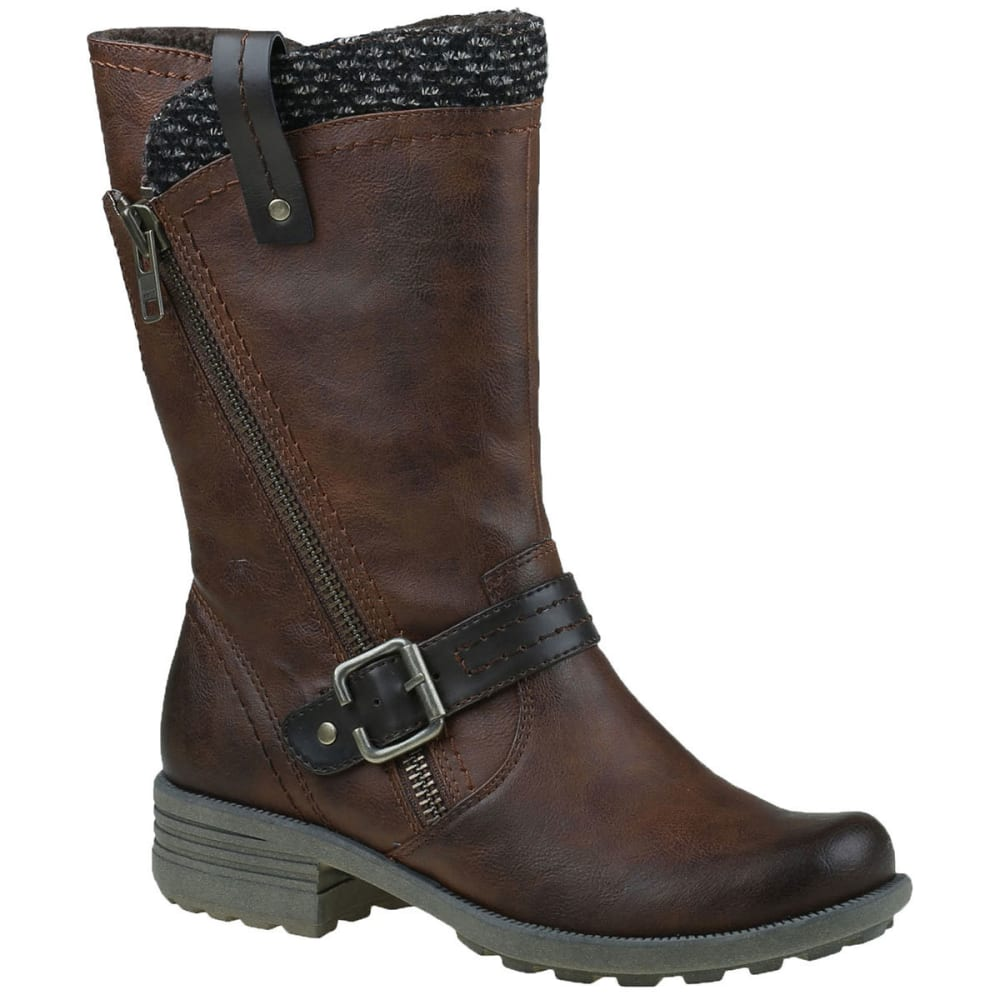 Earth Origins Women's Presley Sweater Asymmetrical Boots, Mid Brown, Wide