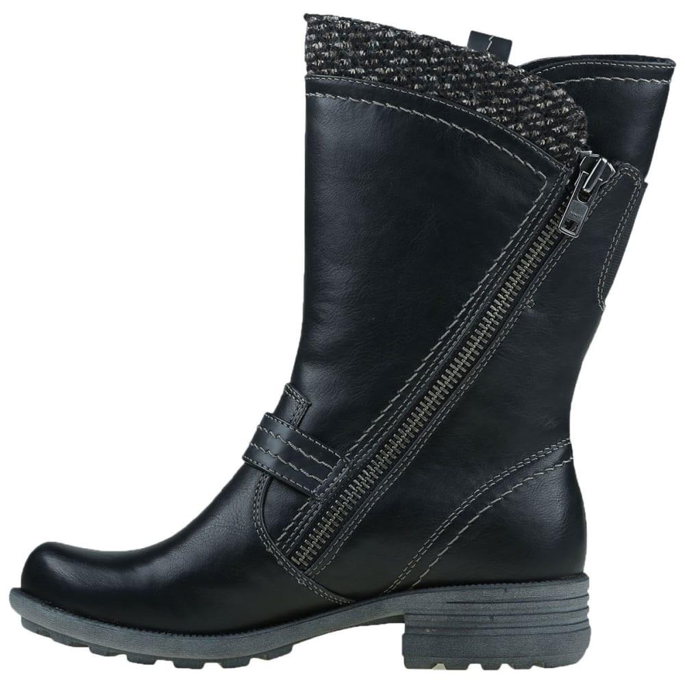 EARTH ORIGINS Women's Presley Sweater Asymmetrical Boots, Black, Wide - BLACK