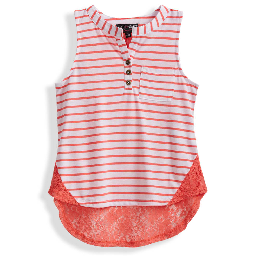LA CONDUCT Girls' Striped Cap Sleeve Tee with Floral Hem - 6-HTRGREY-IVRY/MAGN